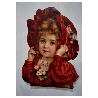 Girl in Red Large Chromolitho Print CUT-OUT 15 x 11