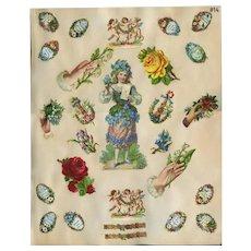 Forget-Me-Not Embossed Flower Girl, Mini Mottos, etc c1880s Scrapbook Pg #14