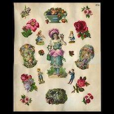 Girl in Rose Petal Dress, Fantasy Swan Balloon Carriage Die Cuts, c1880s Scrapbook Pg #16