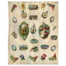 Mechanical Hidden Flower Die Cuts, Shells, Mottos, etc c1880s Scrapbook Pg #18