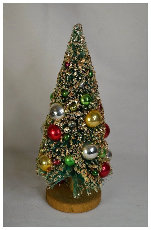 12 inch vintage napco bottle brush christmas tree trimmed with mercury glass ornaments 2