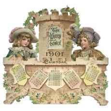 """1901 Partial Die Cut Calendar, Brundage Children on Bridge """"Watch Tower"""""""