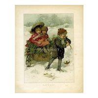 c.1895 Victorian Children Brave Snow to Gather Holly, Chromolitho Print by Lizzie Mack