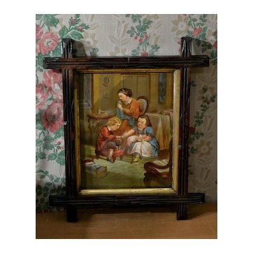 c.1870's Mother Sews, Little Sister & Brother Play Doll, Framed Print