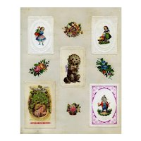 c.1880 Girls with Dolls, Victorian Die Cut Christmas Cards, Scrap Page #13