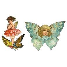 C.1890s Fantasy Fairy Butterflies, Cut Out Victorian Scrap