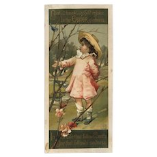 1882 Louis Prang Easter Card, Child is Straw Hat Coaxes Blue Bird