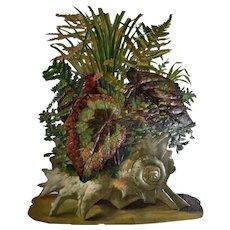 Seashell Full of Maidenhair Fern & Wild Greens Huge Victorian Die Cut