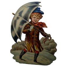 """Winter Umbrella Boy Victorian Die Cut with Glitter 7.50"""""""