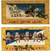 1881 Snow Birds & Winter Belles, Pair L. Prang Christmas Cards
