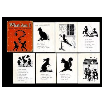 "1934 Book ""What Am I?"" Children, Cat, Dog, Rabbits, Play All Silhouettes"