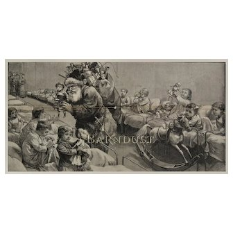 1882 Engraving Santa in Fur Suit Delights Orphan Children with Dolls, Toys & Treats