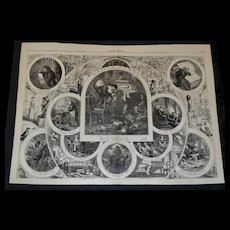 RESERVED for J.V. 1866 Large Double Page Thomas Nast Engraving, Santa, Toys, Dolls, Cat, Dog, FUN