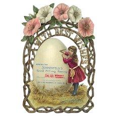 1891 Millinery Store Opening Die Cut, Girl & Petunias, Sonnenfeld's St. Louis, Missouri