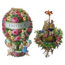 c. 1880s Victorian Die Cuts, Embossed Fantasy Rose Balloon, Flower Boat