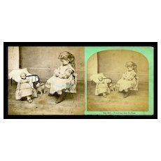 c.1880 Little Girl with Large Papier Mache Doll Stereoview Photo