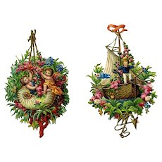 Fantasy  Cherubs in Boats, Victorian Die Cuts