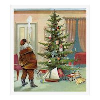 c.1880s Santa Admires Tree Trimmed with Dolls & Toys, Large Color Plate