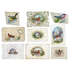 1870's Christmas Cards with Winter Birds, Embossed Die Cut Papers, Scrap #A