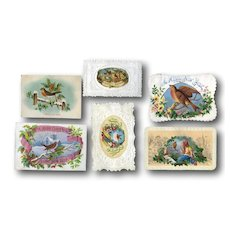 1870's Christmas Cards with Winter Birds, Embossed Die Cut Papers, Scrap #B