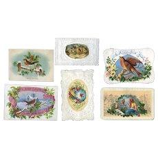 1870's Christmas Cards with Winter Birds, Embossed Die Cut Papers, Scrap #B