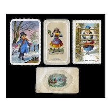 1870 Christmas Cards, Winter Girls with Muffs, Boy, Die Cuts, Glitter #C