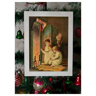 Scarce 1888 Prang Card Santa Peeks at Children by Fireplace