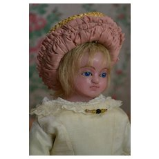16 in. English Poured Wax Doll, Blue Eyed Daydreamer
