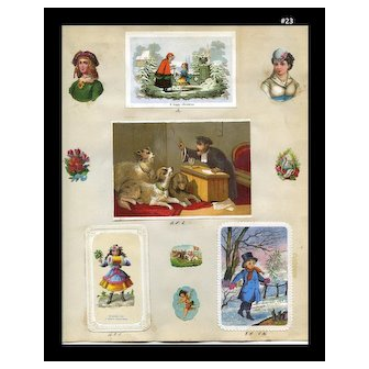 1871 Page Early Christmas Cards, Die Cuts, Winter Girl #23