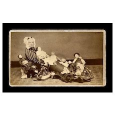 Rare c.1870s Photo: Girl & Lot of China Dolls, As Old Woman in a Shoe, Nancy Rolfe, Baldwinville, Mass.