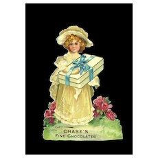 c. 1900 Chase's Fine Chocolates, Advertising Die Cut Victoriani Girl