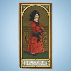 Winter Girl in Red Coat, Marcus Ward Christmas Card