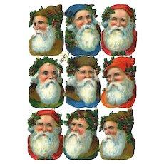 Antique German Santa Claus Die Cuts Sheet (C)