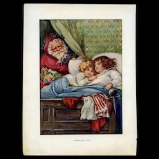 c.1900 Awesome Santa with Dolls Peeks at Sleeping Girls, Tuck Book Plate