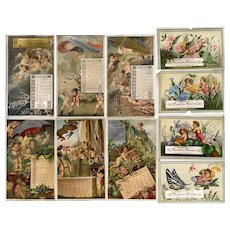 1878 Scrapbook, Lots of Advertising Cards, Chromolitho Printer's Calendar, 88 Page Sides