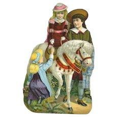 c. 1880's Die Cut Children & Handsome White Pony, Advertising Magic Yeast Cakes