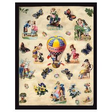 c1880 Die Cuts Children Play, Dolls, Dogs, Cat, Hot Air Balloon++ Victorian Scrapbook Page #46