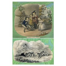 c1860s Children & Cat, Trimmed Hand-Colored Print, Rabbits & Fox on Back, Scrapbook Page