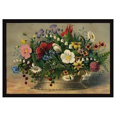 1870's Primitive Style Colorful Flower Basket & Butterfly, Early Print