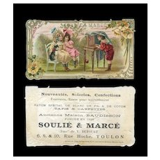 French Trade Card, Two Girls, Cat & Boy Photographer, Advertising French Riviera Store c.1890 #14