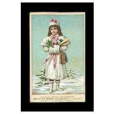 c.1890 French Trade Card, Winter Girl in Snow, Soulie Et Marce, Toulon #24