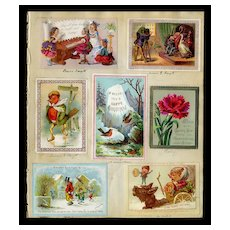 c.1870 Scrapbook Page, Christmas Cards, J.Mansell, Goodall, Marcus Ward