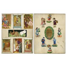 1870s Father Christmas, Children, Decorated Tree, Die Cuts, Silk Poem, Scrapbook Page