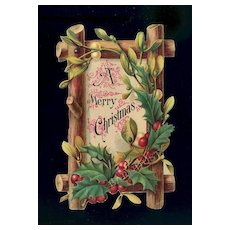 c. 1880s Christmas Holly Berry & Twigs Greeting Cut Out