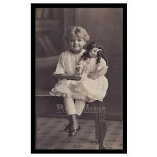 c.1920's Cute Girl Holds Large Doll Real Photo Post Card #26