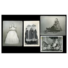 Antique Dolls, Horse Velocipide, Carriage - 4 Vintage Photos #31