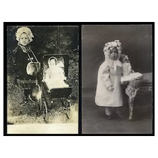 Smart Aleck & Angel / 2 Girls with Dolls 2 RPPC Photos#35
