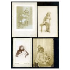 Girls & Dolls, 4 Antique Photos #37