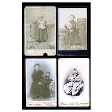 c.1890s Girls & Dolls - 4 Antique Cabinet Photos  #39