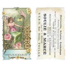 Fantasy Butterfly's Lantern Illuminates Rose Fairy, Soulie & Marce French Die Cut Trade Card c.1890 #12